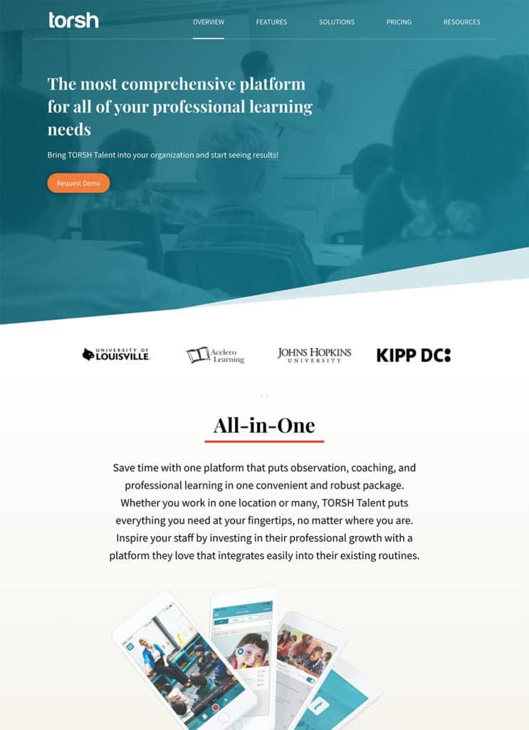 Screenshot of TORSH custom WordPress website homepage