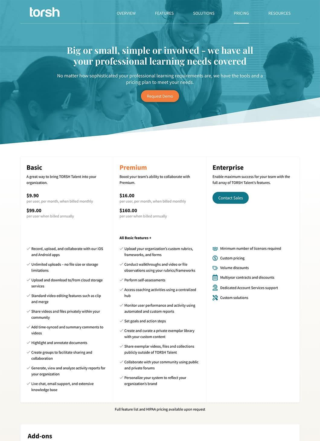 Screenshot of TORSH custom WordPress pricing template