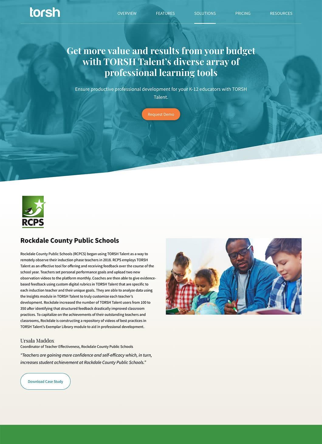 Screenshot of TORSH Solution custom WordPress template