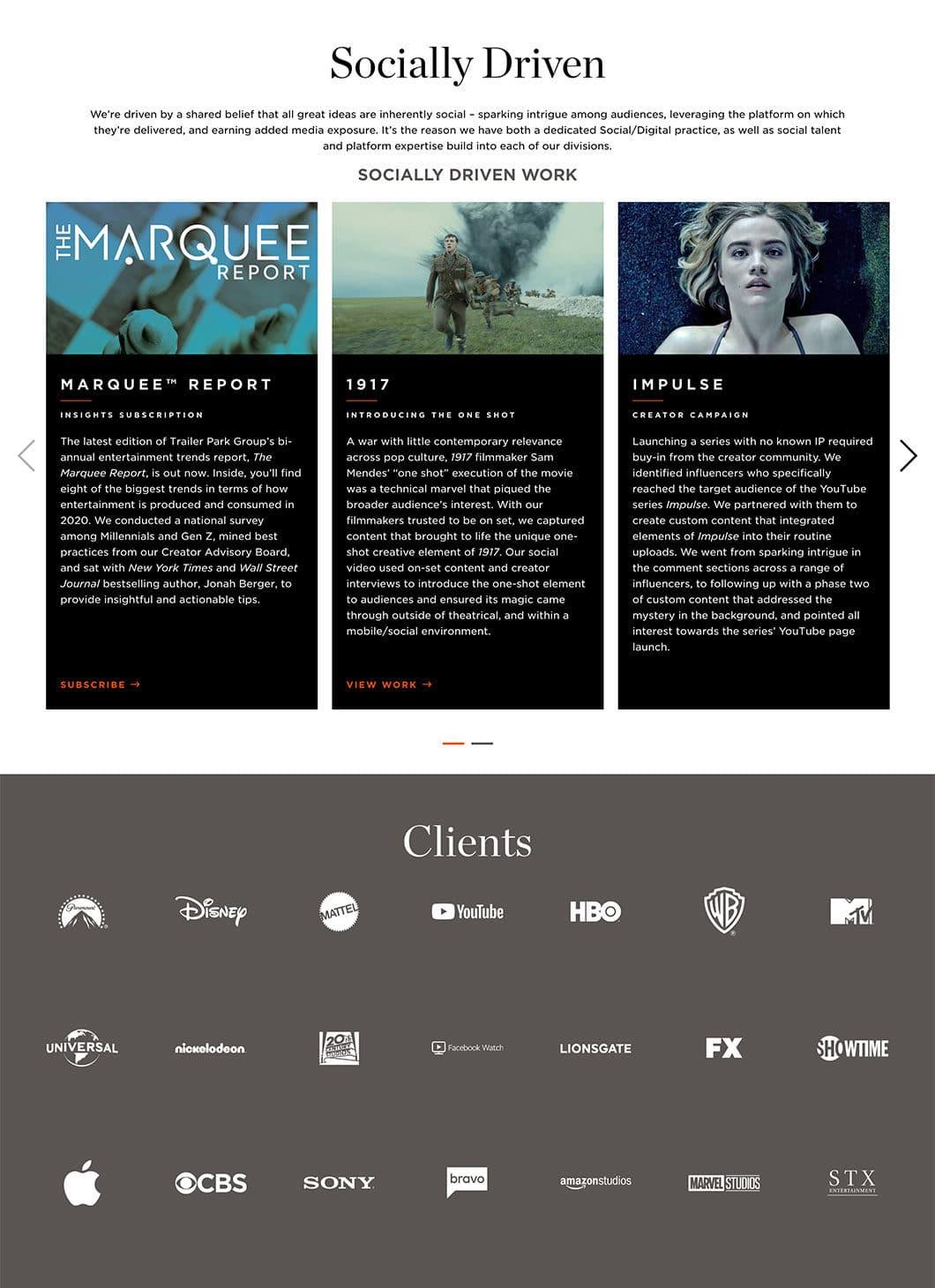 TPG homepage screenshot