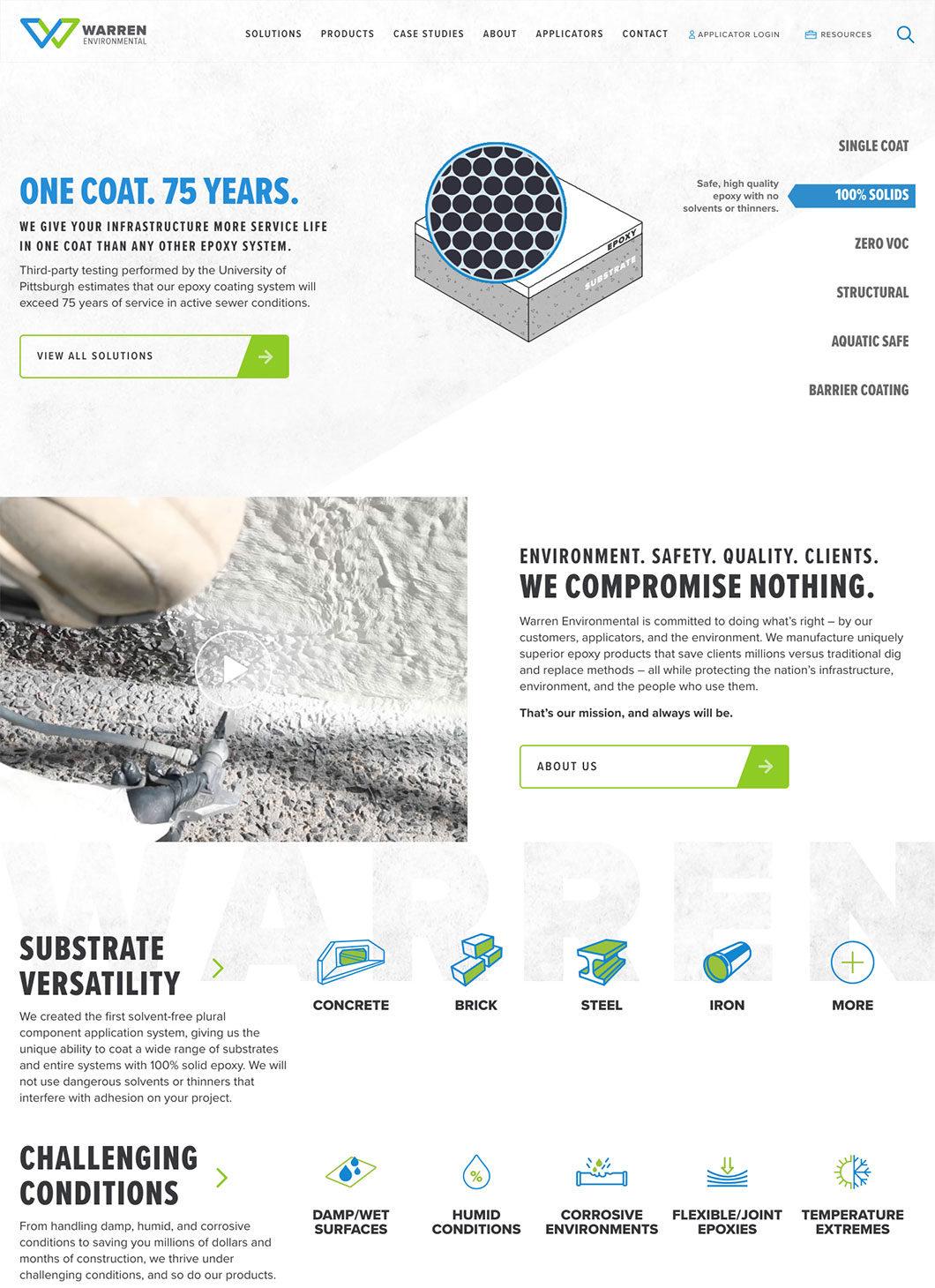 Screenshot of Warren Environmental Homepage